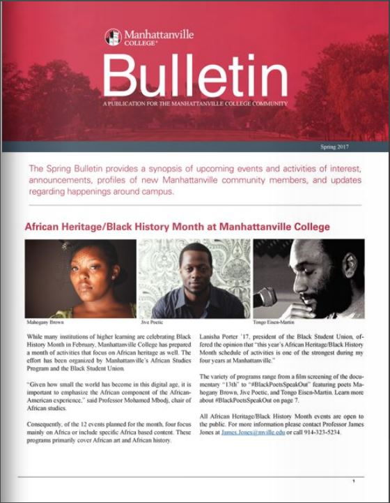 Manhattanville College's Spring 2017 Bulletin