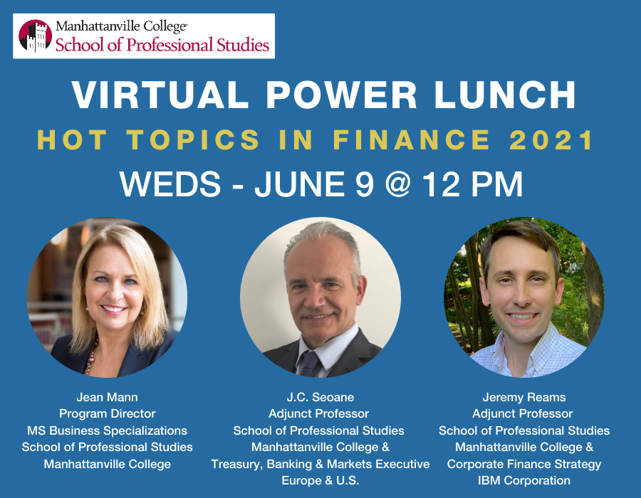 SPS Power Lunch Banner with Headshots of Three Speakers
