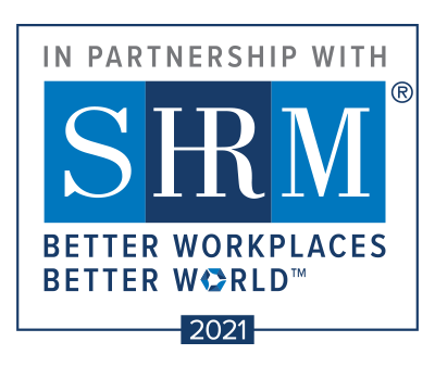"SHRM Partnership 2021 Logo Blue and White ""Better Workplaces. Better World"""